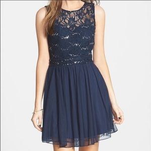 Speechless Embellished Lace Bodice Skater Dress 10